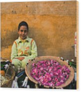 Young Girl Selling Rose Petals In The Medina Of Fes Morroco Wood Print
