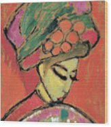 Young Girl With A Flowered Hat By Alexei Jawlensky Wood Print