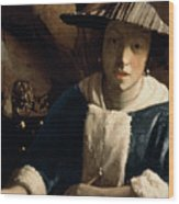 Young Girl With A Flute Wood Print