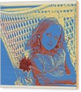 Young Girl With Blue Eyes Wood Print