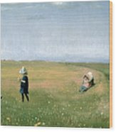 Young Girls Picking Flowers In A Meadow Wood Print