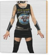 Young Heavy Metal Female Punk Fan Standing Tall With Horns Pierc Wood Print