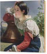 Young Italian At The Well Wood Print