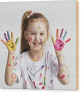 Young Kid Showing Her Colorful Hands Wood Print