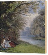 Young Ladies By A River Wood Print