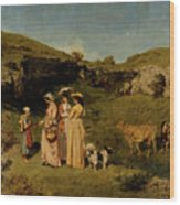 Young Ladies Of The Village By Gustave Courbet, 1851-1852 Wood Print