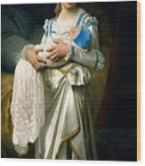 Young Lady And The Baby Wood Print