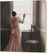 Young Lady In Pink Gown Looking Out Window Wood Print