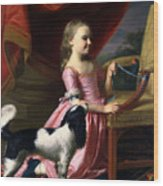 Young Lady With A Bird And A Dog Wood Print