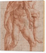 Young Man Carrying An Old Man On His Back Wood Print
