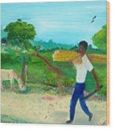 Young Man Carrying Sugarcane Wood Print