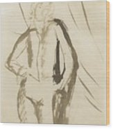 Young Man Standing Face Wood Print