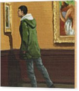 Young Man Viewing Art - Painting Wood Print