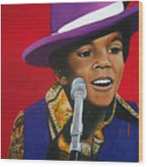 Young Michael Jackson Singing Wood Print