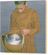 Young Monk Begging Alms And Rice, Thailand Wood Print