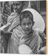 Young Monks 2 Bw Wood Print