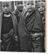 Young Monks II Bw Wood Print