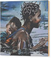 Young Mother And Child Wood Print