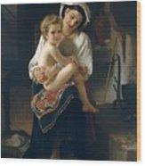 Young Mother Gazing At Her Child Wood Print