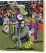 Young Native Indian  Boys Dancing In Tiny Tots Competition At A  Wood Print