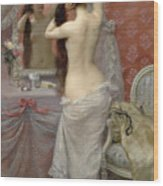 Young Nude Woman Styling In An Interior Wood Print