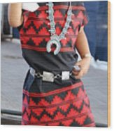 Young  Participant Of Native American Clothes Contest  Wood Print