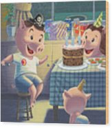 Young Pig Birthday Party Wood Print by Martin Davey
