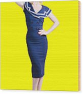Young Retro Pinup Girl Wearing Sailor Uniform Wood Print