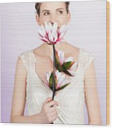 Young Romantic Woman With Lotus Flowers Wood Print