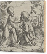 Young Saint John The Baptist Kneeling Before The Infant Christ Wood Print