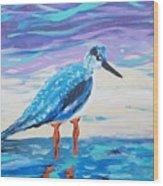 Young Seagull Coastal Abstract Wood Print