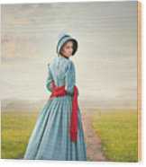 Young Victorian Woman On A Country Path Wood Print