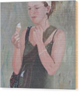 Young Woman And Ice-cream Wood Print