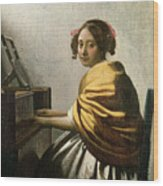 Young Woman At A Virginal Wood Print