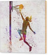 Young Woman Basketball Player 04 In Watercolor Wood Print