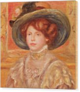 Young Woman In A Blue Hat Wood Print