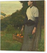 Young Woman In A Garden Of Oranges Wood Print