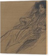 Young Woman In An Armchair Wood Print
