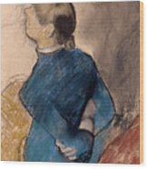 Young Woman In Blue Wood Print