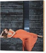 Young Woman In Long Orange Dress Wood Print