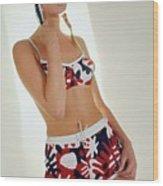 Young Woman In Mod Bikini Wood Print