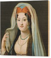 Young Woman In Traditional Ottoman Clothes Wood Print