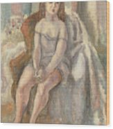 Young Woman In White Chemise Wood Print