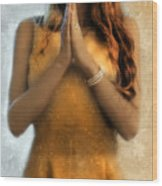 Young Woman Praying Wood Print