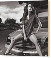 Young Woman Sitting On A Crashed Car Wood Print