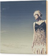 Young Woman Standing On The Beach Wood Print