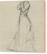 Young Woman With A Broom Wood Print
