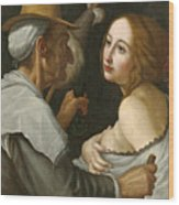 Young Woman With A Fortune Teller Wood Print
