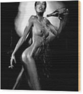 Young Woman With Champagne Wood Print