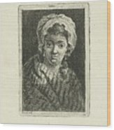 Young Woman With Hat And Curly Hair Wood Print